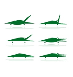 Set of funny green crocodiles for your design vector image