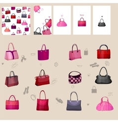 Set with woman bags For your design vector image