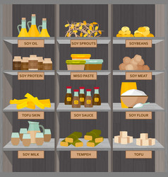 shopping stands with soy food supermarket shelves vector image