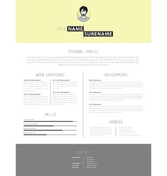 Simple but creative cv template with yellow vector