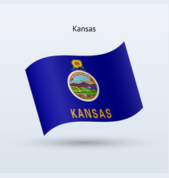 state of kansas flag waving form vector image