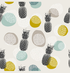 Summer pineapple background with boho decoration vector