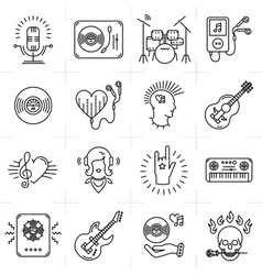 Thin lines music icons set Punk rock band guitar vector