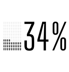 Thirty four percent people chart graphic 34 vector