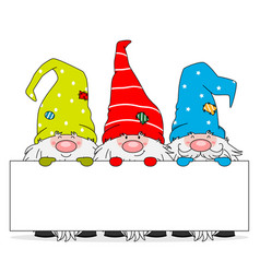 Three gnomes with blank sign vector