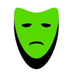 Tragedy theatrical masks green 3d icon vector