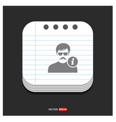 user info icon gray icon on notepad style vector image