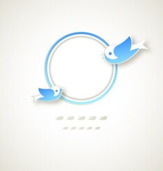 Vintage round frame with flying birds vector image
