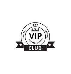 vip club round badge with ribbon flag isolated on vector image