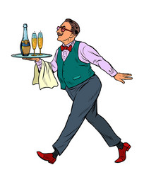 Waiter with a cap tray with glasses vector