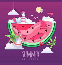 watermelon slice with sea or osean landscape vector image
