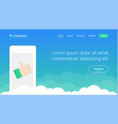 website header template design with smartphone vector image