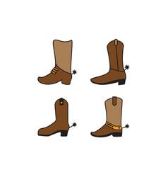 western boot icon design set bundle template vector image