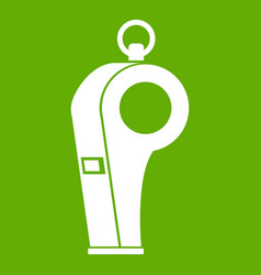 Whistle of refere icon green vector