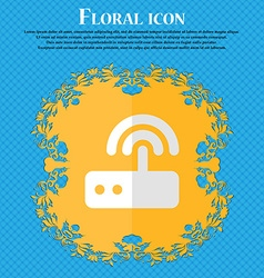 Wi fi router Floral flat design on a blue abstract vector image