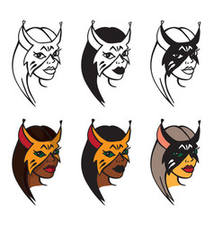 woman in lynx mask vector image