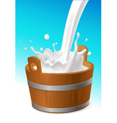 Wooden pail with milk pour isolated on white vector