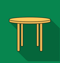 wooden round table icon in flat style isolated on vector image