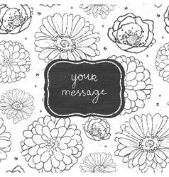 Chalk flowers blackboard frame seamless pattern vector image vector image