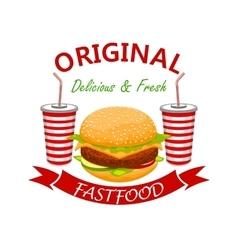Cheeseburger with soda drink fast foodd emblem vector