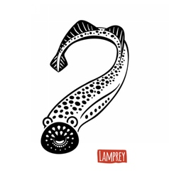 Lamprey black and white vector image vector image