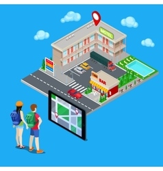 Mobile Navigation Couple of Tourists vector image