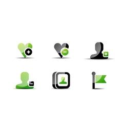 Modern web green black icon set vector image vector image