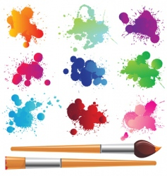 paint splashes and brushes vector image