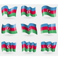Set of Azerbaijan flags in the air vector image