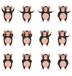 Set of Chimpanzee flat icons vector image vector image