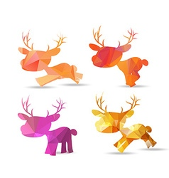 Set of polygonal reindeer christmas design vector image vector image