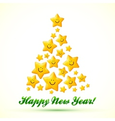 Christmas tree made from smiling yellow stars vector image vector image