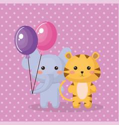 cute elephant sweet kawaii birthday card vector image vector image
