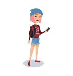 fashionable female student with pink hair standing vector image