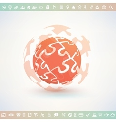 globe made of puzzle piecies business and vector image