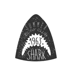 Great White Shark Head Summer Surf Club Black And vector image