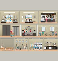 hotel interior set with reception vector image vector image