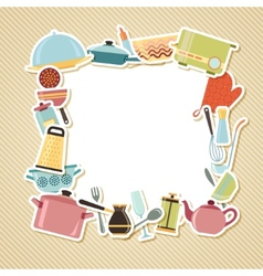 Kitchen utensils appliances and cookware on vector image vector image