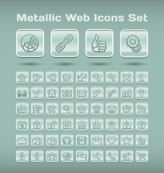 Metallic web icons set vector image