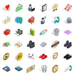 open icons set isometric style vector image vector image