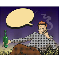 pop art of smoking man with vector image vector image