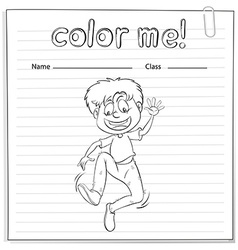 A worksheet showing a boy dancing vector image