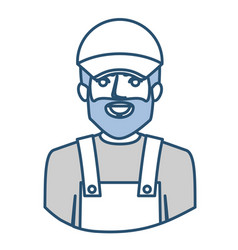 Blue silhouette with half body of bearded delivery vector