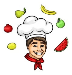 Cartoon young chef in toque with fresh fruits vector image vector image