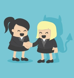 Cartoons concepts Businesswoman shaking hand with vector image