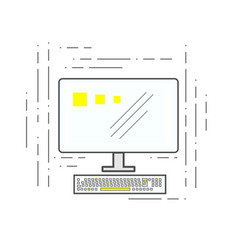 computer icon in the style of the lines of the vector image