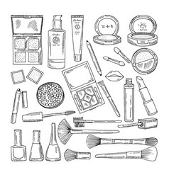 doodle of woman cosmetics makeup vector image