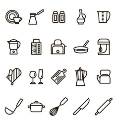 kitchen tools signs black thin line icon set vector image