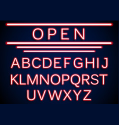 set retro neon open signs background vector image