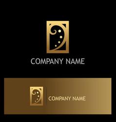 swirl luxury gold company logo vector image